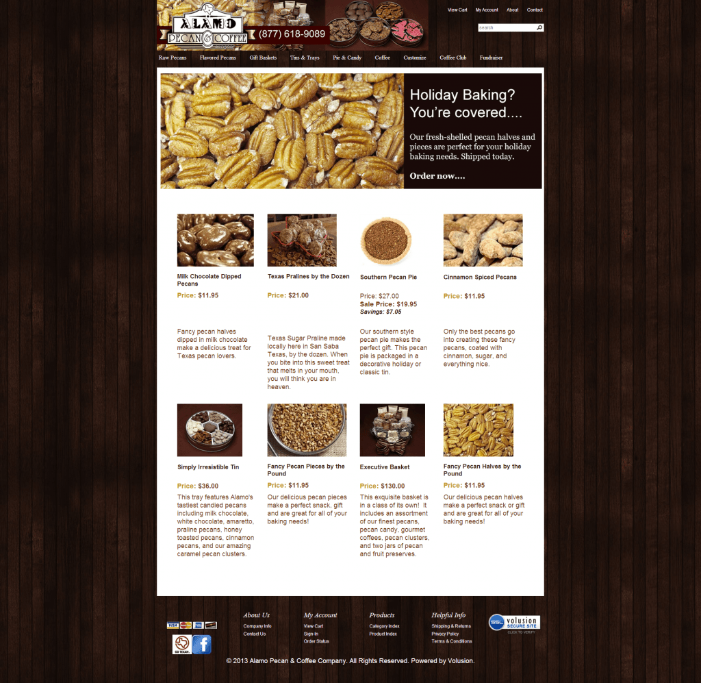 Alamo Pecan & Coffee enhanced home page