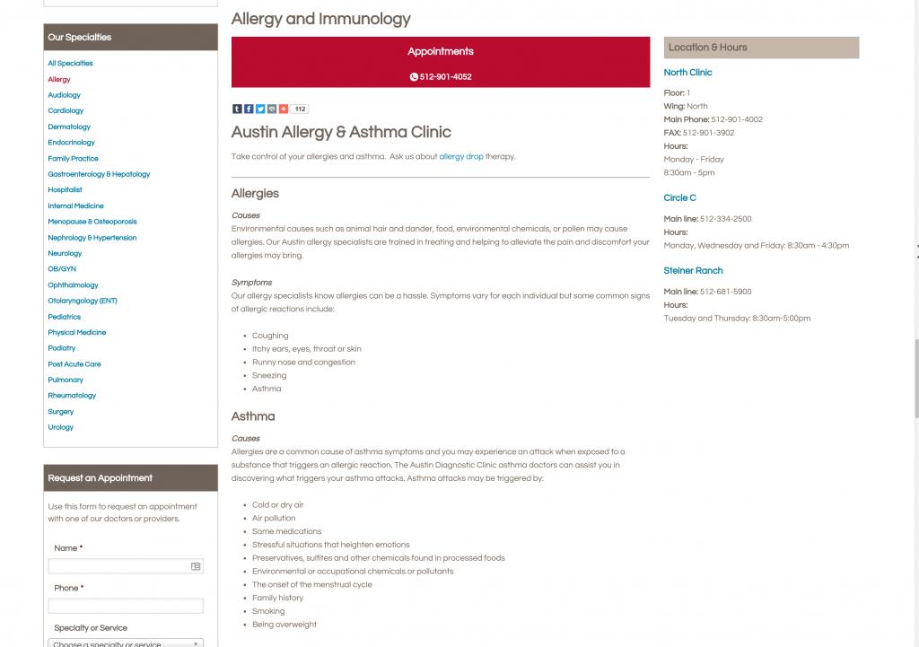 Allergy page - Austin Diagnostic Clinic