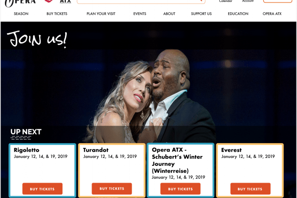 Redesign of main performance website – Austin Opera