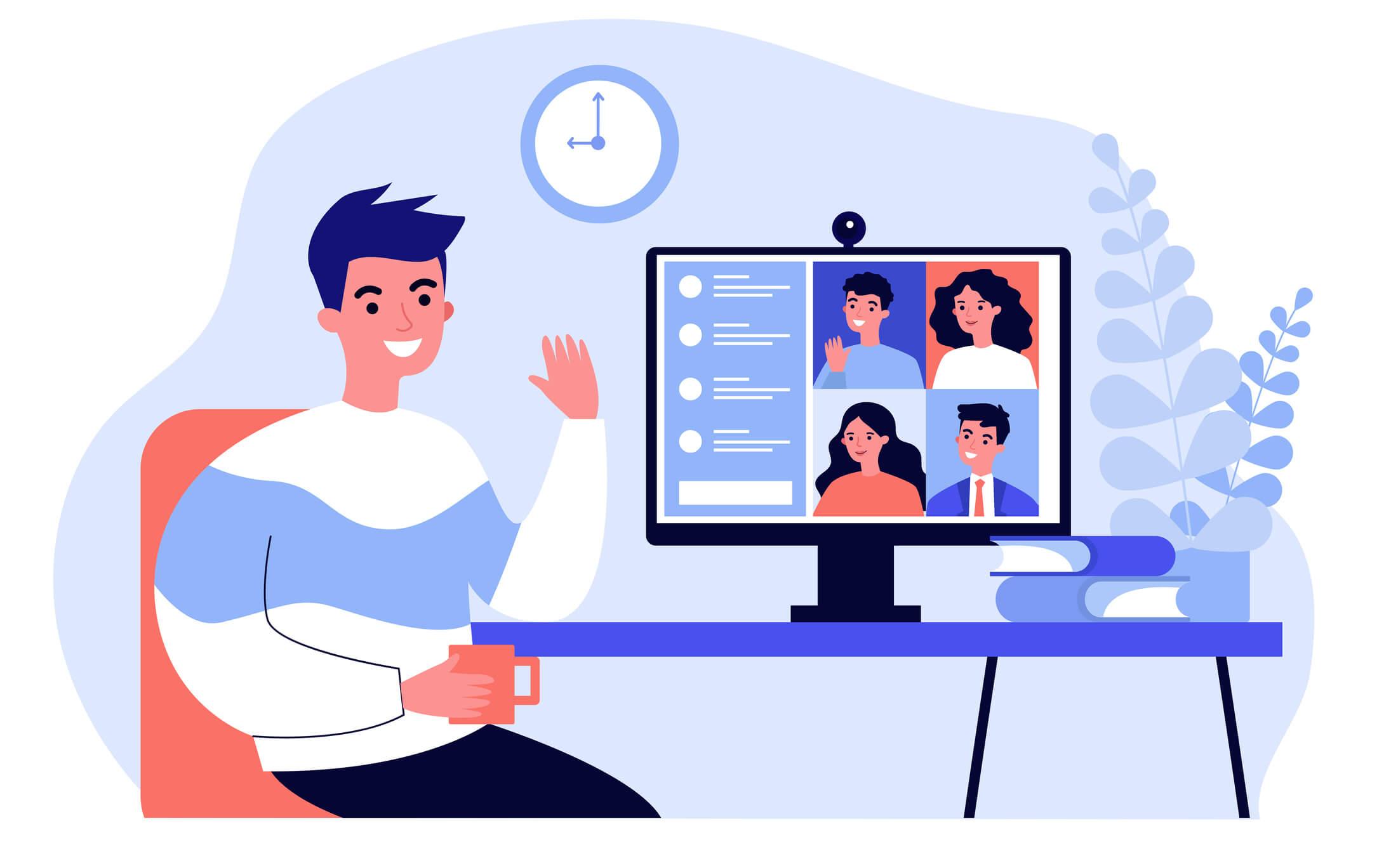 Worker using computer