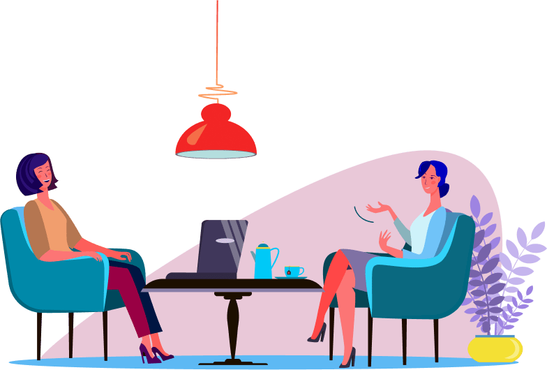 Illustrations of two women laughing at work