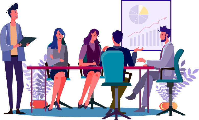 Illustration of a professional meeting with men and women