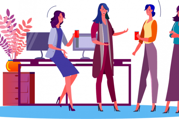 Illustration of a group of women meeting in a professional environment
