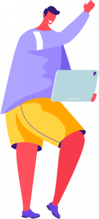 Illustration of a man communicating on the responsive tablet version of a website