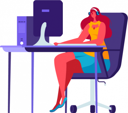 Illustration of a woman communicating on the responsive computer version of a website