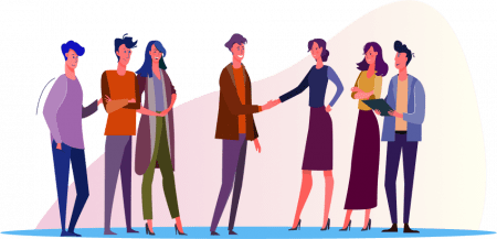 Illustration of a group of people meeting with another group.