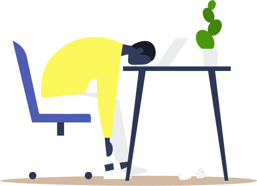 Frustrated Person Sleeping On Desk Because They Have Bad Customer Retention