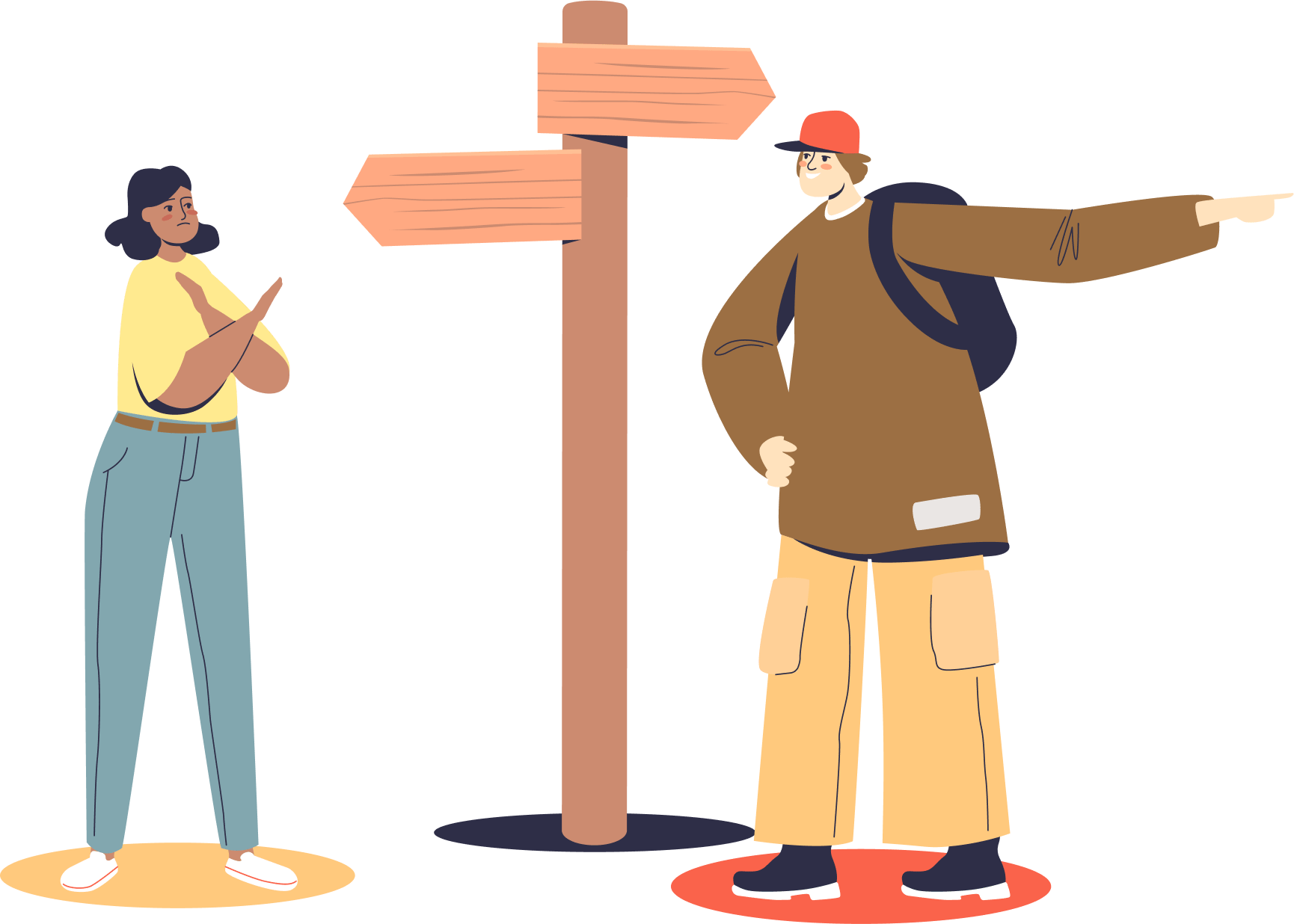 An illustration of two individuals disagreeing on the right path to take